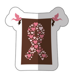 emblem breast cancer hearts and butterfly icon vector image vector image