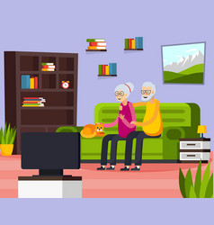 flat aged elderly people composition vector image