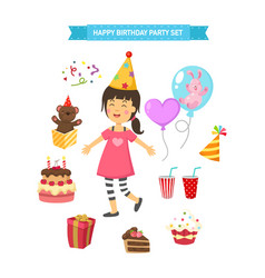 happy birthday party kids set vector image vector image