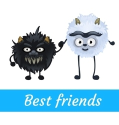 Two alien black and white furry characters vector image vector image