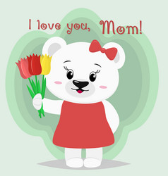 a nice polar bear stands and keeps three tulips in vector image