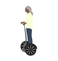 A woman resting and fast rides on electric wheels vector