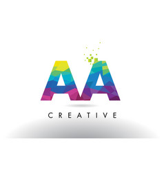 Aa a colorful letter origami triangles design vector