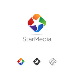 abstract colorful star looping logo template vector image