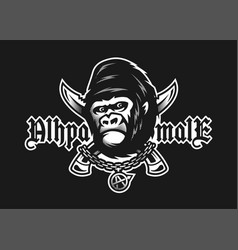 Alpha male angry gorilla and crossed knives on a vector