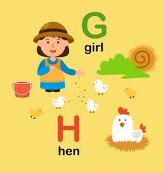 alphabet letter g-girl h-hen vector image