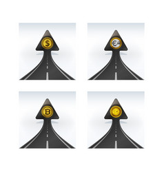 Arrow shaped road with dollar coin rising into sky vector