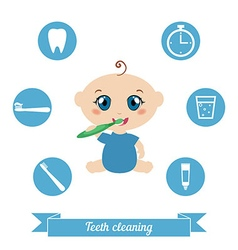 Baby brushing his teeth vector image