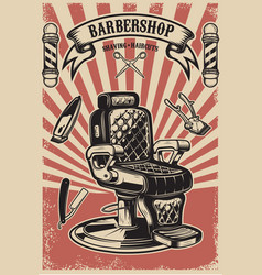 Barber shop barber chair on grunge background vector