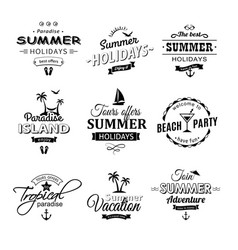 Beach retro labels set on white vector