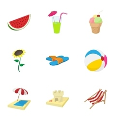 Beach vacation icons set cartoon style vector