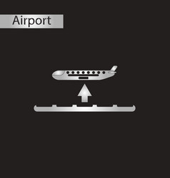 Black and white style icon airplane takeoff vector