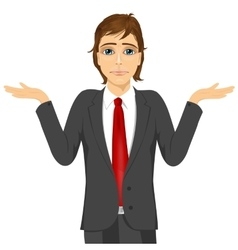 business man in doubt making shrug expression vector image