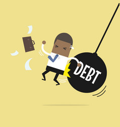 Businessman getting pushed by huge debt pendulum vector