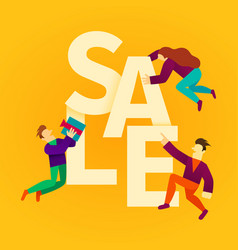 cartoon people with big sale sign sale banner vector image