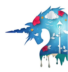 cartoon unicorn paper landscape vector image