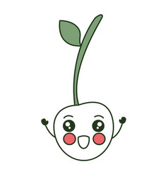 Cherry fresh fruit kawaii character vector