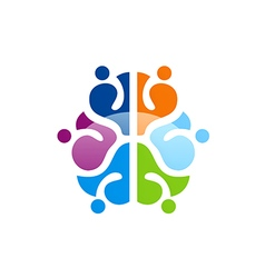 Colorful brain abstract knowledge logo vector