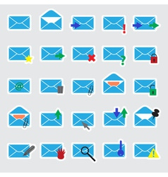 Computer mail blue stickers eps10 vector