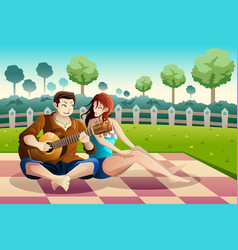 Couple playing guitar together in a park vector