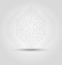 Cube from messy connected dots vector