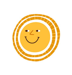 cute funny smiling sun happy hot summer weather vector image