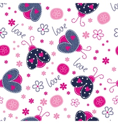 Cute seamless pattern with ladybugs vector