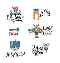 cute viking character compositions with lettering vector image
