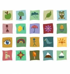 Cutout icons vector
