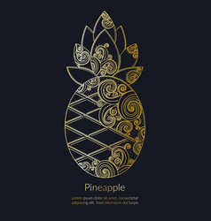 decorative golden pineapple vector image