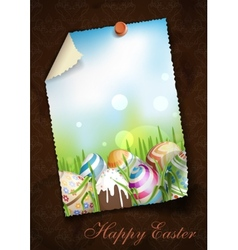 Easter Background With Eggs In Grass vector image vector image