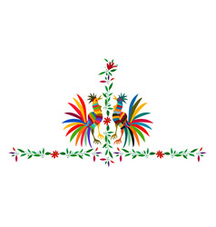 Ethnic mexican roosters embroidery otomi style vector