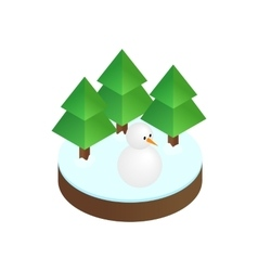 Firs in winter forest isometric 3d icon vector image
