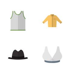 Flat icon dress set of brasserie singlet panama vector