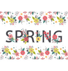 floral banner with lettering spring vector image