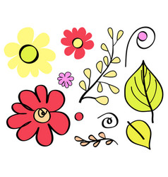 Floral element flowers leaves vector