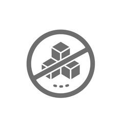 Forbidden sign with a sugar no sweets grey icon vector