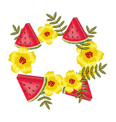 fresh watermelon fruits with leafs frame vector image