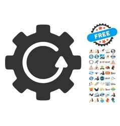 Gear Rotation Icon With 2017 Year Bonus Pictograms vector