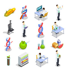 Genetically modified organisms isometric icons vector
