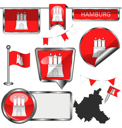 Glossy icons with flag of hamburg germany vector