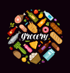 Grocery store banner food and drinks icons set vector