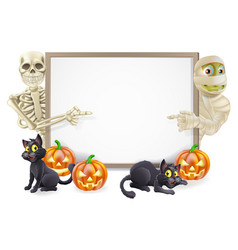 Halloween sign with skeleton and mummy vector
