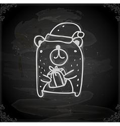 Hand Drawn Christmas Bear vector image