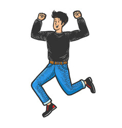 happy jumping man sketch engraving vector image