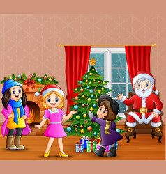 happy santa claus with three girl decorating a chr vector image