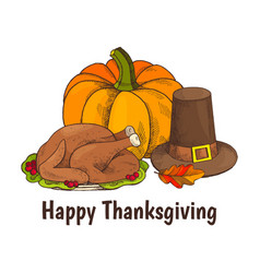 Happy thanksgiving turkey and veggie poster vector