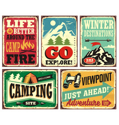 Hiking and camping retro signs collection vector