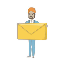 Hindu businessman holding a big envelope vector