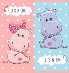 Hippos boy and girl vector